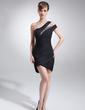 Wąska Jednoramienna Asymetryczna Chiffon Suknia Koktajlowa Z Żabot Perełki (016008341)