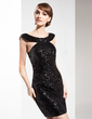 Sheath/Column Off-the-Shoulder Knee-Length Sequined Cocktail Dress (016008271)