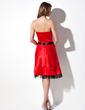 A-Line/Princess Strapless Knee-Length Satin Homecoming Dress With Sash Bow(s) (022054417)