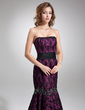 Trumpet/Mermaid Strapless Sweep Train Charmeuse Lace Evening Dress With Beading Bow(s) (017016745)