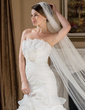 Trumpet/Mermaid Scalloped Neck Court Train Organza Wedding Dress With Flower(s) Cascading Ruffles (002012810)