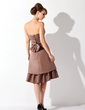 A-Line/Princess Strapless Knee-Length Satin Bridesmaid Dress With Ruffle Bow(s) (007000904)