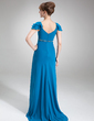 Empire V-neck Sweep Train Chiffon Mother of the Bride Dress With Ruffle Beading (008016861)
