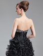 A-Line/Princess Sweetheart Asymmetrical Organza Prom Dress With Beading Sequins Cascading Ruffles (018020974)
