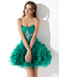 A-Line/Princess Sweetheart Short/Mini Organza Homecoming Dress With Beading Cascading Ruffles (022010560)