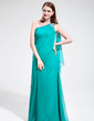 A-Line/Princess One-Shoulder Floor-Length Chiffon Prom Dress With Beading Cascading Ruffles (018017381)