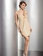 Sheath/Column One-Shoulder Short/Mini Chiffon Homecoming Dress With Ruffle (022014503)