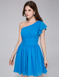 A-Line/Princess One-Shoulder Knee-Length Chiffon Bridesmaid Dress With Cascading Ruffles (020037400)