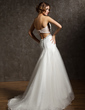 Trumpet/Mermaid Sweetheart Asymmetrical Tulle Wedding Dress With Ruffle Beading (002011429)