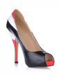 Leatherette Stiletto Heel Sandals Peep Toe With Split Joint shoes (085016567)
