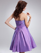 A-Line/Princess Sweetheart Knee-Length Taffeta Bridesmaid Dress With Ruffle Flower(s) (022018793)