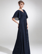 Empire V-neck Floor-Length Chiffon Mother of the Bride Dress With Cascading Ruffles (008006475)