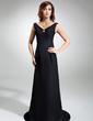 Sheath/Column V-neck Sweep Train Chiffon Evening Dress With Ruffle Beading (017039553)