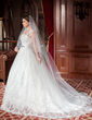 Ball-Gown Square Neckline Chapel Train Tulle Wedding Dress With Lace Beading Sequins (002011790)