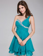A-Line/Princess One-Shoulder Short/Mini Chiffon Homecoming Dress With Ruffle Beading (022027380)