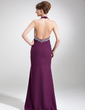 Trumpet/Mermaid Halter Sweep Train Chiffon Prom Dress With Beading Split Front (018004886)