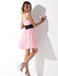 Empire Sweetheart Short/Mini Chiffon Homecoming Dress With Ruffle Sash Bow(s) (022010736)