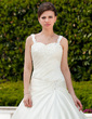 Ball-Gown Sweetheart Chapel Train Satin Wedding Dress With Ruffle Beading Appliques Lace (002011659)