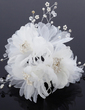 Beautiful Rhinestone/Pearl/Chiffon Flowers & Feathers (042028747)