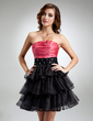 A-Line/Princess Strapless Short/Mini Satin Organza Cocktail Dress With Beading Cascading Ruffles (016016369)