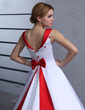 Ball-Gown Off-the-Shoulder Chapel Train Satin Wedding Dress With Embroidered Beading Bow(s) (002011731)