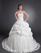 Ball-Gown Sweetheart Chapel Train Taffeta Tulle Wedding Dress With Ruffle Beading Appliques Lace (002015155)
