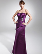 Trumpet/Mermaid Scalloped Neck Floor-Length Satin Evening Dress With Ruffle Beading (017014677)