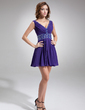 A-Line/Princess V-neck Short/Mini Chiffon Cocktail Dress With Ruffle Beading (016008299)