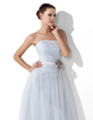 A-Line/Princess Strapless Floor-Length Tulle Prom Dress With Ruffle Sash Flower(s) (018021132)