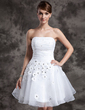 A-Line/Princess Strapless Knee-Length Organza Wedding Dress With Ruffle Beading Flower(s) (002024068)