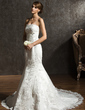Trumpet/Mermaid Strapless Chapel Train Tulle Wedding Dress With Beading Appliques Lace (002000636)