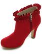 Women's Satin Cone Heel Boots Closed Toe Platform Pumps (047017794)