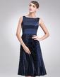 A-Line/Princess Square Neckline Knee-Length Charmeuse Bridesmaid Dress With Pleated (007020326)
