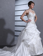 Ball-Gown Sweetheart Chapel Train Taffeta Wedding Dress With Embroidered Ruffle Beading Sequins (002012566)