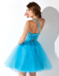A-Line/Princess One-Shoulder Knee-Length Tulle Homecoming Dress With Beading Sequins (022011087)