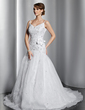 Ball-Gown V-neck Court Train Satin Organza Wedding Dress With Embroidered Beading Flower(s) Sequins (002014794)