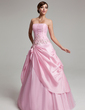 A-Line/Princess Strapless Floor-Length Taffeta Tulle Quinceanera Dress With Ruffle Beading Appliques Lace (021020768)