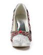 Women's Satin Cone Heel Closed Toe Platform Pumps With Rhinestone (047020112)