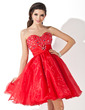 A-Line/Princess Sweetheart Knee-Length Organza Homecoming Dress With Ruffle Beading (022009034)