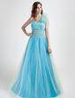 A-Line/Princess One-Shoulder Floor-Length Tulle Prom Dress With Ruffle Beading (018015843)