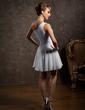 A-Line/Princess One-Shoulder Short/Mini Chiffon Bridesmaid Dress With Ruffle (007014484)