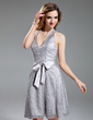 A-Line/Princess Halter Knee-Length Lace Homecoming Dress With Bow(s) (022019596)
