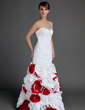 Trumpet/Mermaid Sweetheart Floor-Length Taffeta Prom Dress With Ruffle Beading Flower(s) (018015703)