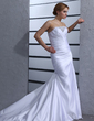 Trumpet/Mermaid Strapless Chapel Train Satin Wedding Dress With Ruffle Beading (002000433)