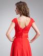 A-Line/Princess V-neck Sweep Train Satin Chiffon Bridesmaid Dress With Ruffle (007016838)