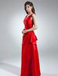 Çan/Prenses V Yaka Uzun Etekli Satin Nedime Elbisesi Ile Büzgü (007004570)