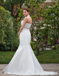 Trumpet/Mermaid Halter Chapel Train Organza Wedding Dress With Ruffle Beading (002001277)