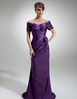 Sheath/Column Off-the-Shoulder Sweep Train Taffeta Mother of the Bride Dress With Ruffle Beading Flower(s) (008006321)