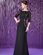 Sheath/Column Off-the-Shoulder Floor-Length Chiffon Lace Mother of the Bride Dress (008018691)