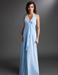 Empire Halter Floor-Length Chiffon Bridesmaid Dress With Cascading Ruffles (007000831)